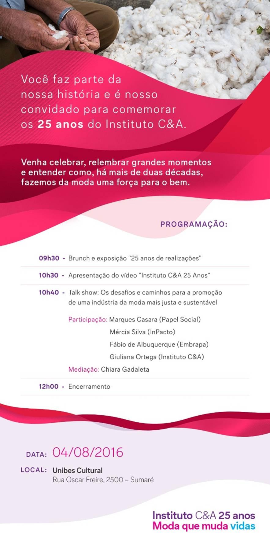 Convite 25 anos Instituto C&A